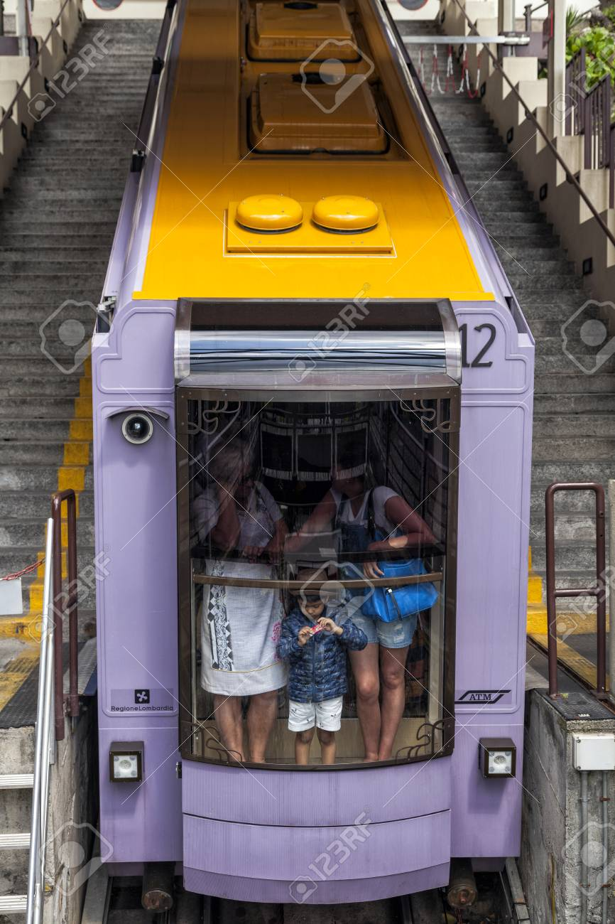 BRUNATE, COMO LAKE - ITALY - June 18, 2016: The Como Brunate funicular railway connects the city of Como with the village of Brunate - 97262043