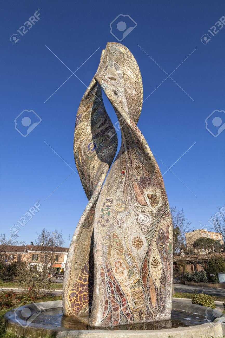 A beautiful fountain, made entirely of mosaic: Ardea Purpurea - Ravenna, Italy - 97242459