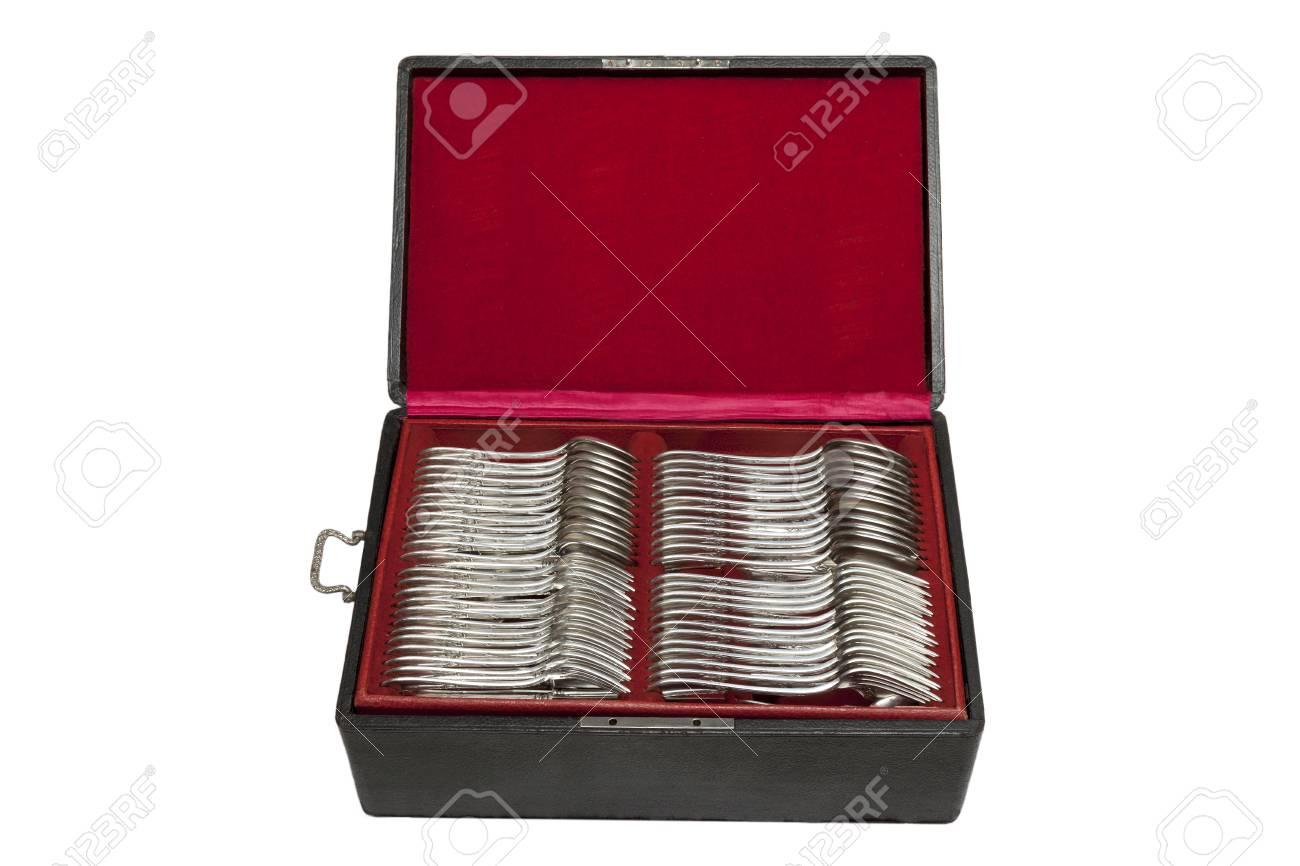 Vintage silverware in red velvet box, circa 1920 - 97234077