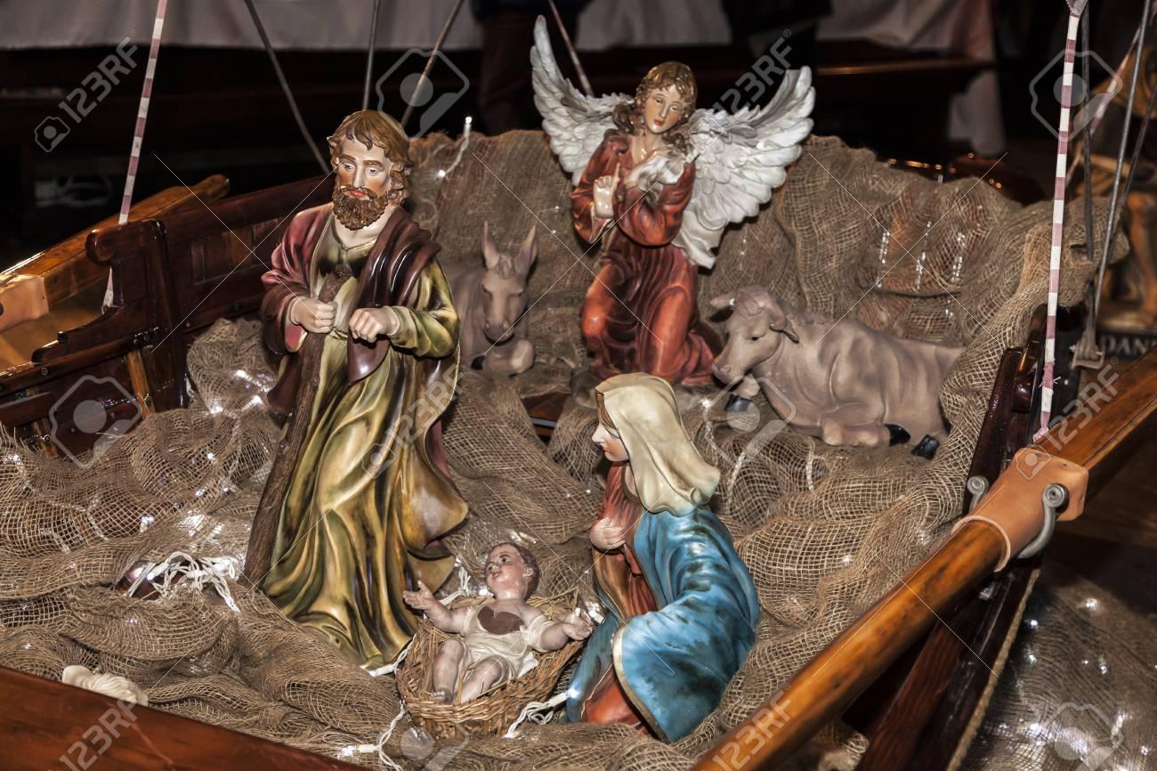 COMO, ITALY - December 10, 2016: Christmas Nativity scene set in a boat - 97273790