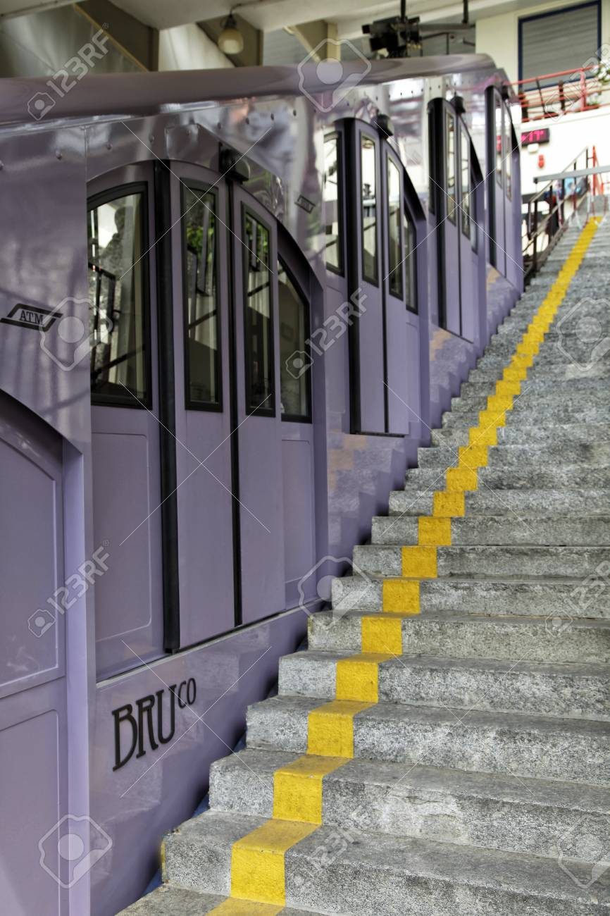 BRUNATE, COMO LAKE - ITALY - June 18, 2016: The Como Brunate funicular railway connects the city of Como with the village of Brunate - 97261890