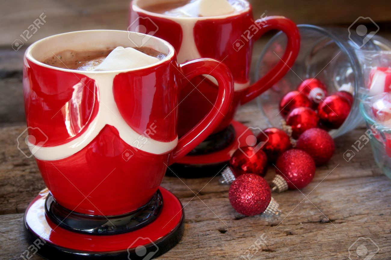 Two Cups Of Hot Chocolate With Marshmallow Creme And Christmas ...