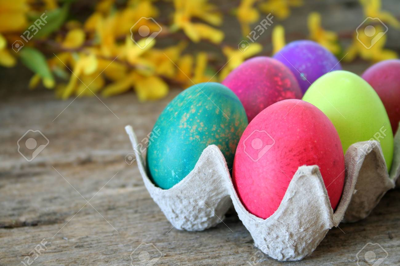 Colorful Easter eggs with a shallow depth of field and selective focus.  Used forsythia in the background to add a Spring feeling. Stock Photo - 4625588