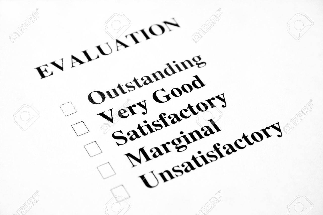 Blank evaluation with the focus being on the words very good and satisfactory. Stock Photo - 7022160