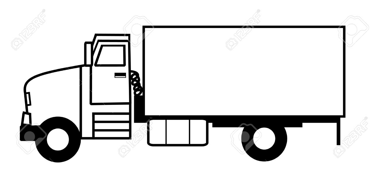 black and white illustrated truck stock photo picture and royalty rh 123rf com garbage truck clipart black and white monster truck clip art black and white