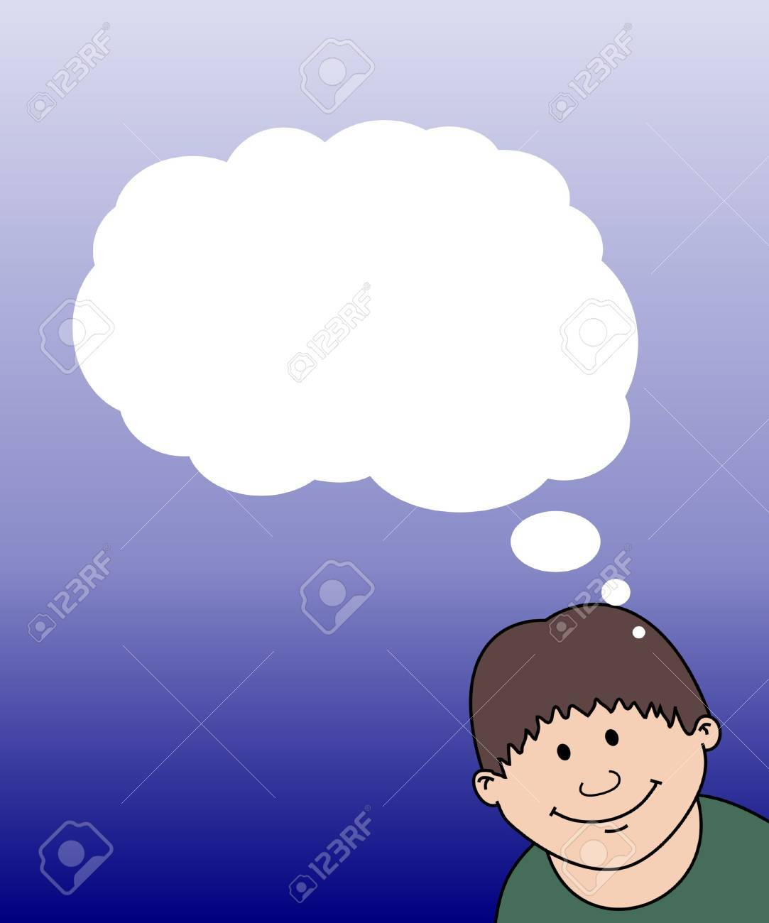 illustration of a child with thought bubbles Stock Illustration - 2470272