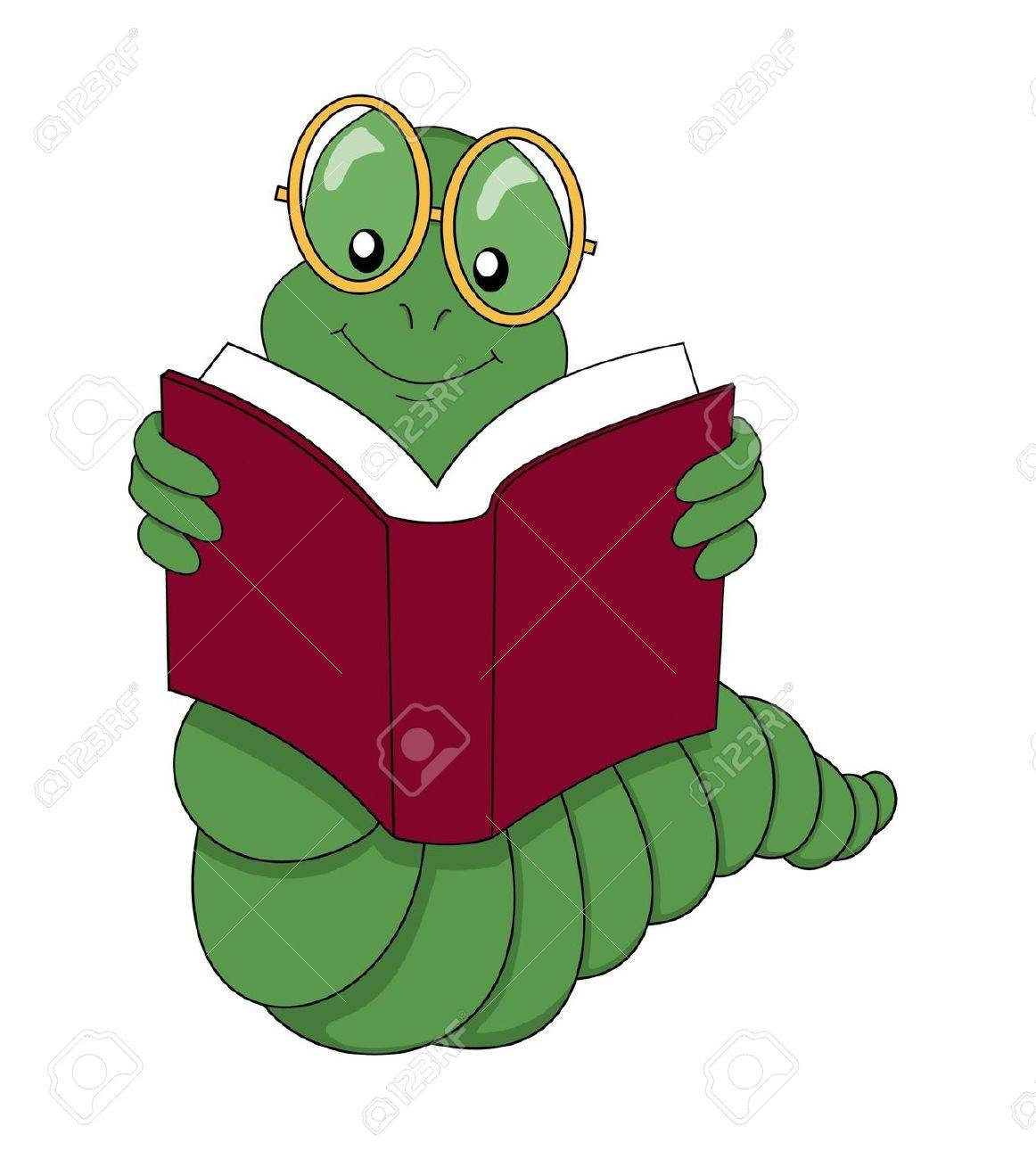 Reading Bookworm Clipart Bookworm Reading a Book Over a