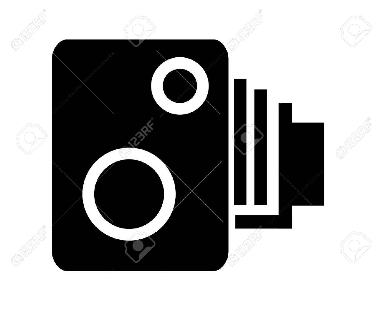 Illustrated Black And White Speed Camera Symbol Stock Photo Picture