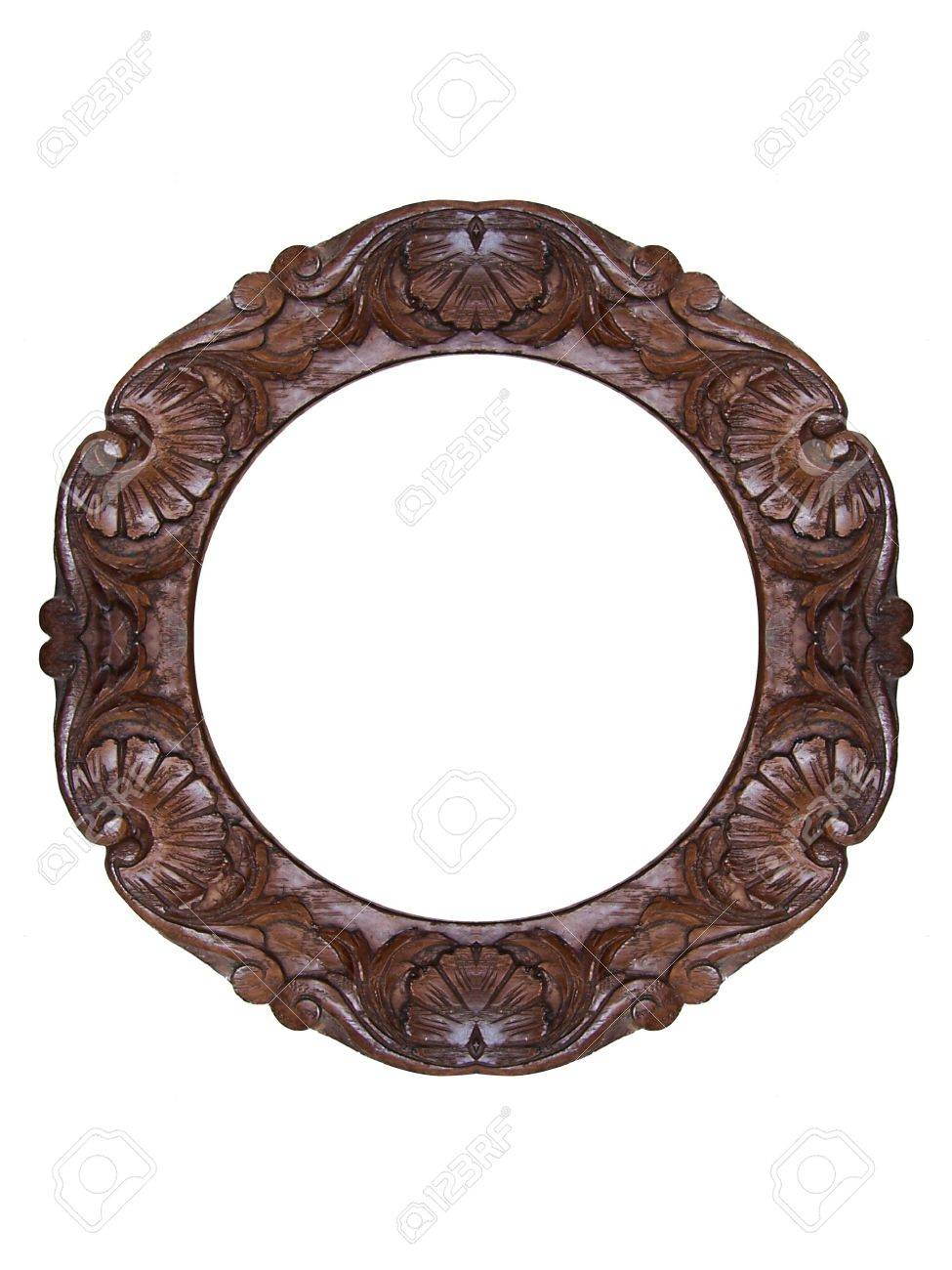 round wooden carved frame stock photo picture and royalty free round wooden carved frame stock photo - Wooden Picture Frames