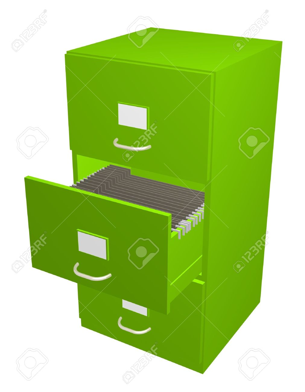 3D Illustration Of A Green Filing Cabinet With The Middle Draw Open Stock  Illustration   2729879
