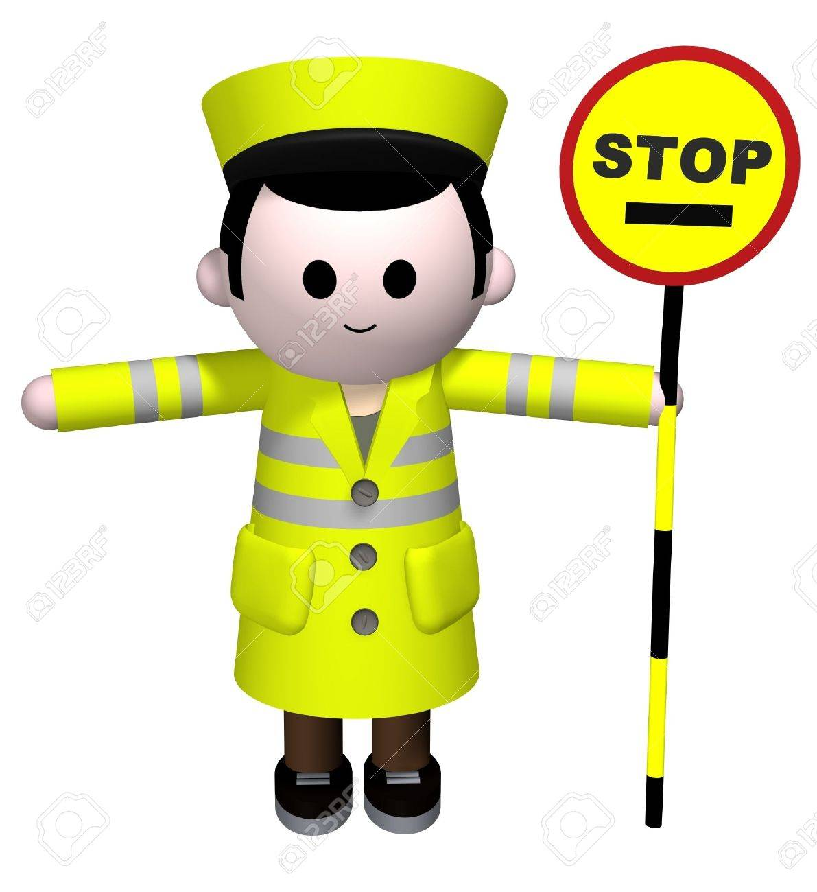 3D illustration of a lollipop manholding a stop sign Stock Illustration - 2806177