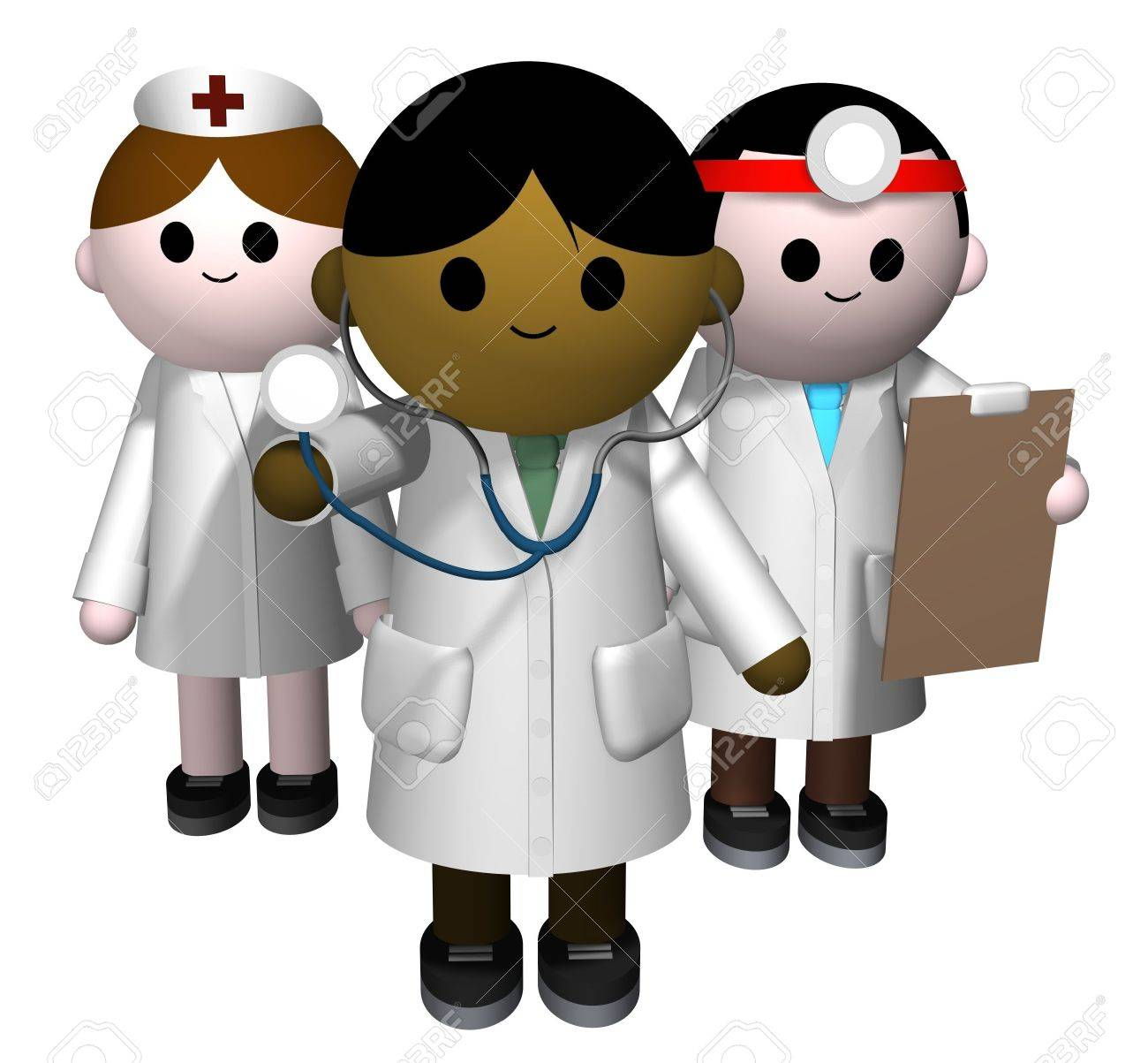 3D illustration of a team of medical professionals Stock Illustration - 4344338