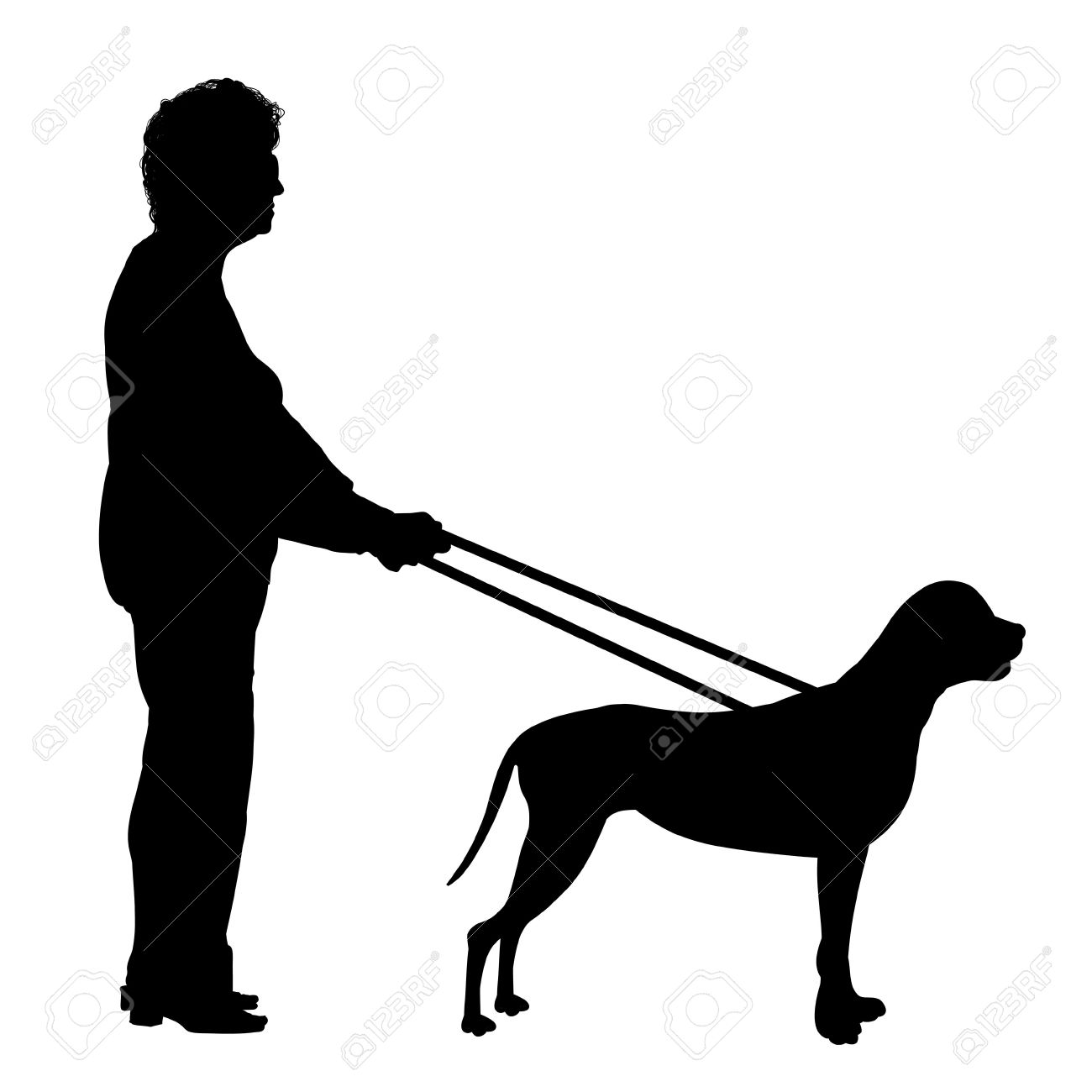 Illustration of a woman being guided by a  dog Stock Photo - 6641890