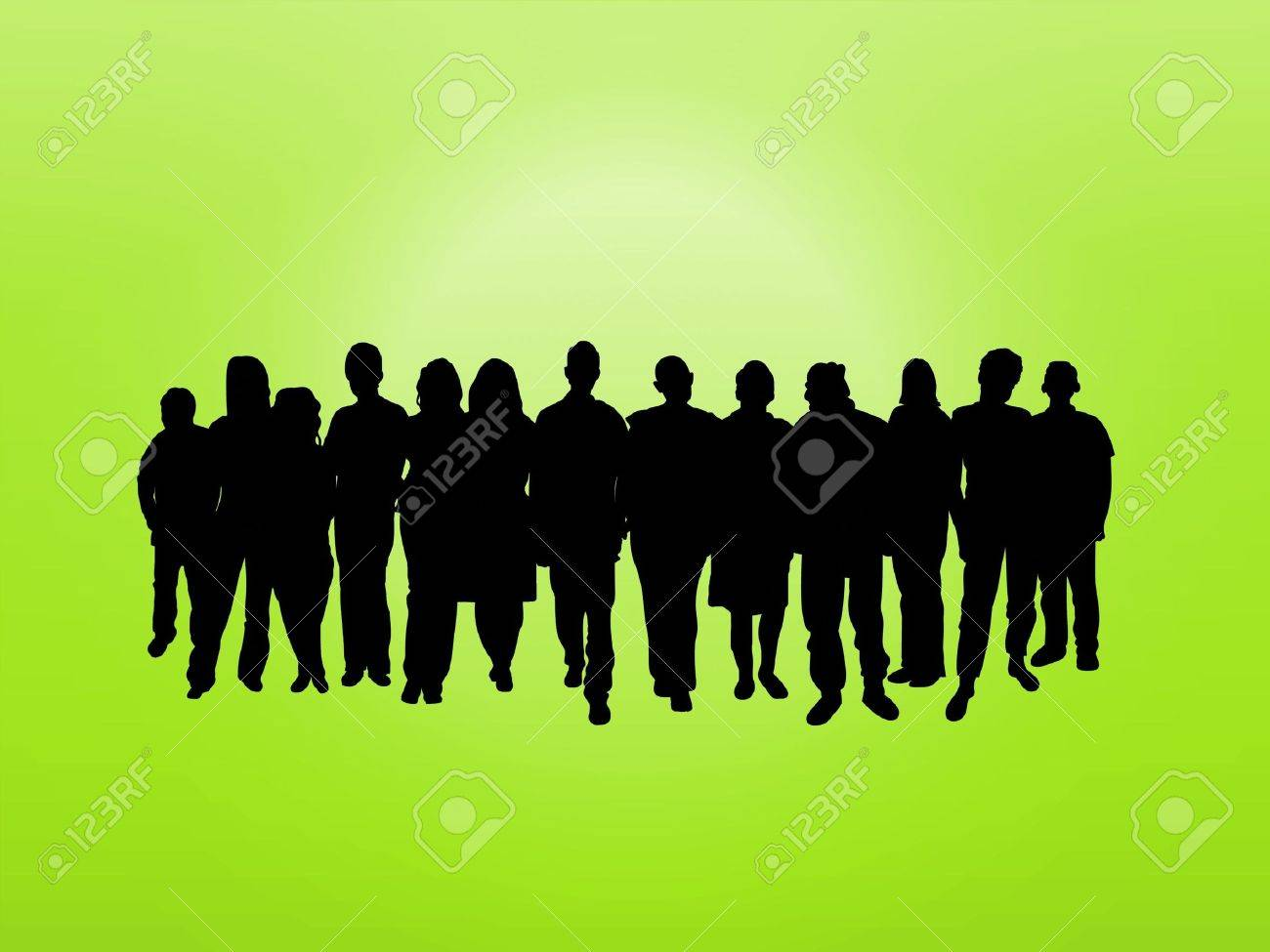 Illustrated crowd of people over a green background Stock Photo - 6894758