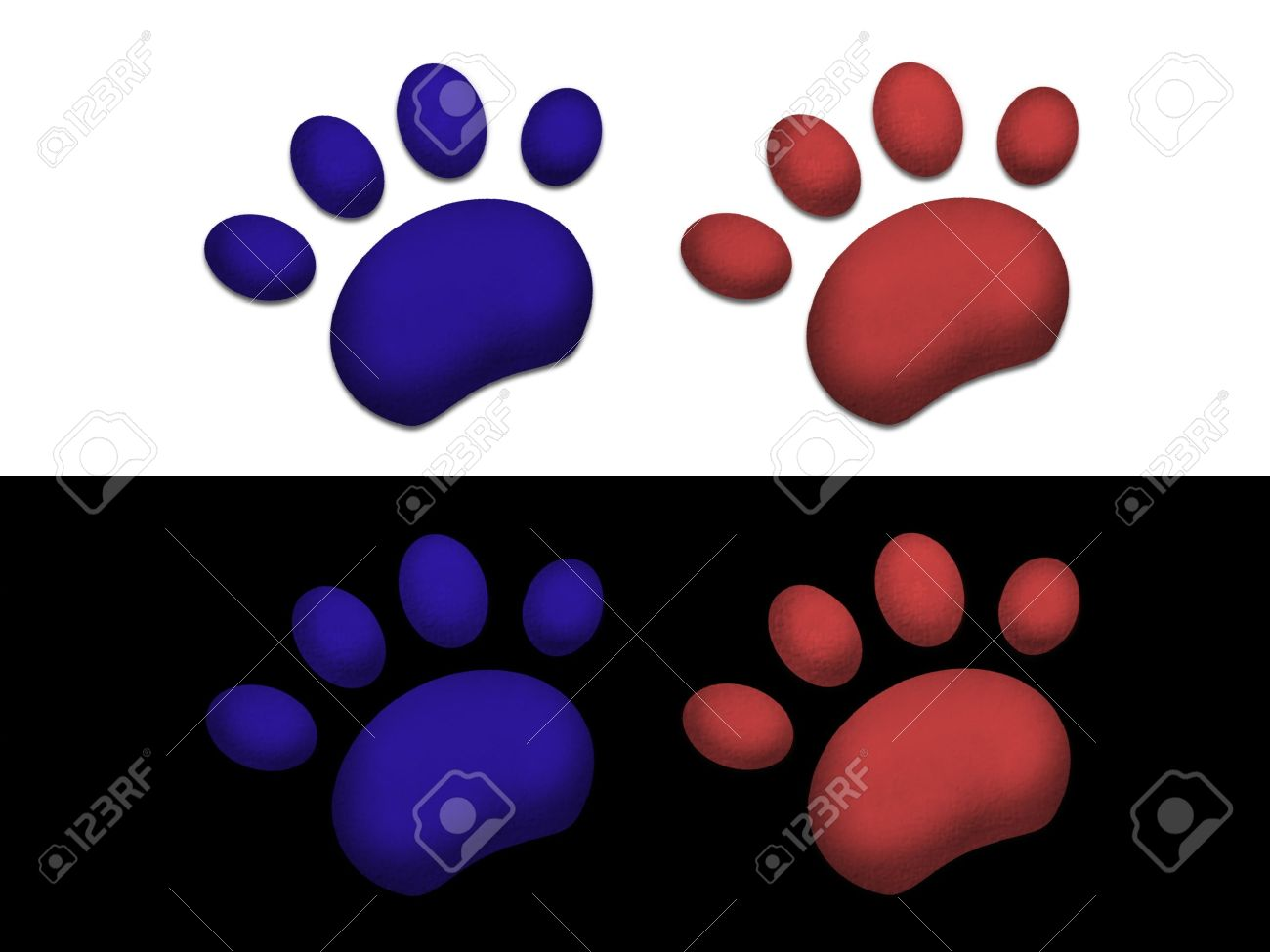 illustration of Paw prints on black and white background Stock Photo - 6894756