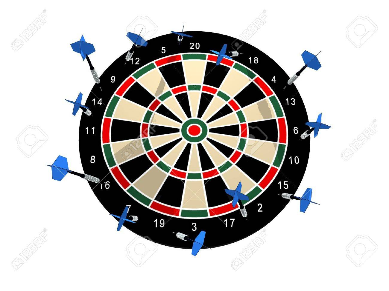 Illustration of a dart board with all the darts missing any target Stock Illustration - 7620225