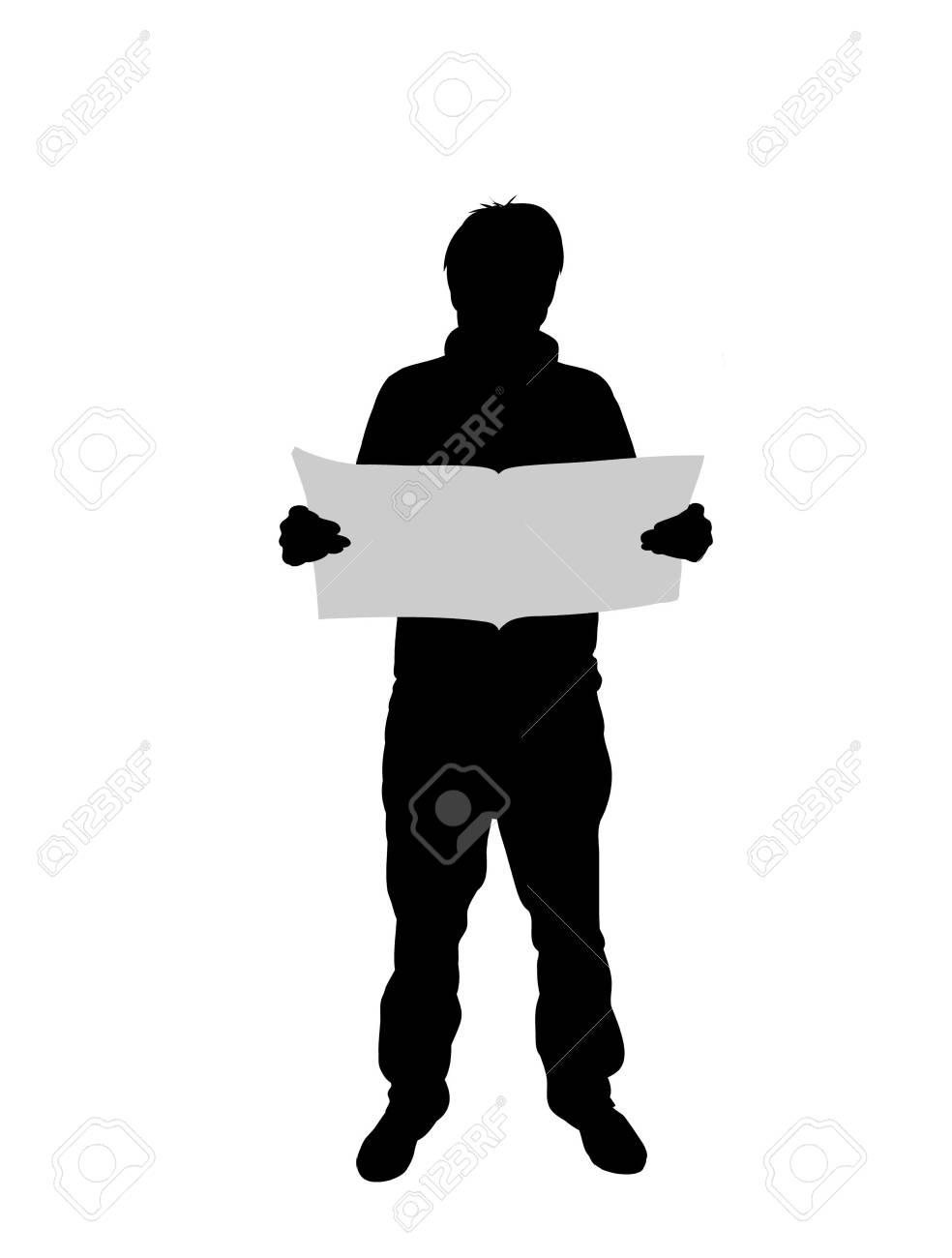 Illustration of a man reading Stock Illustration - 7852452