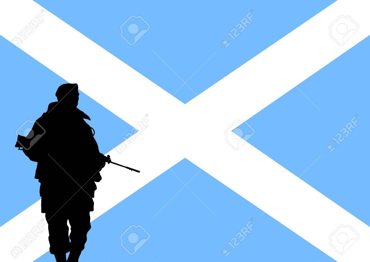 silhouette of a scottish soldier with the flag of scotland in