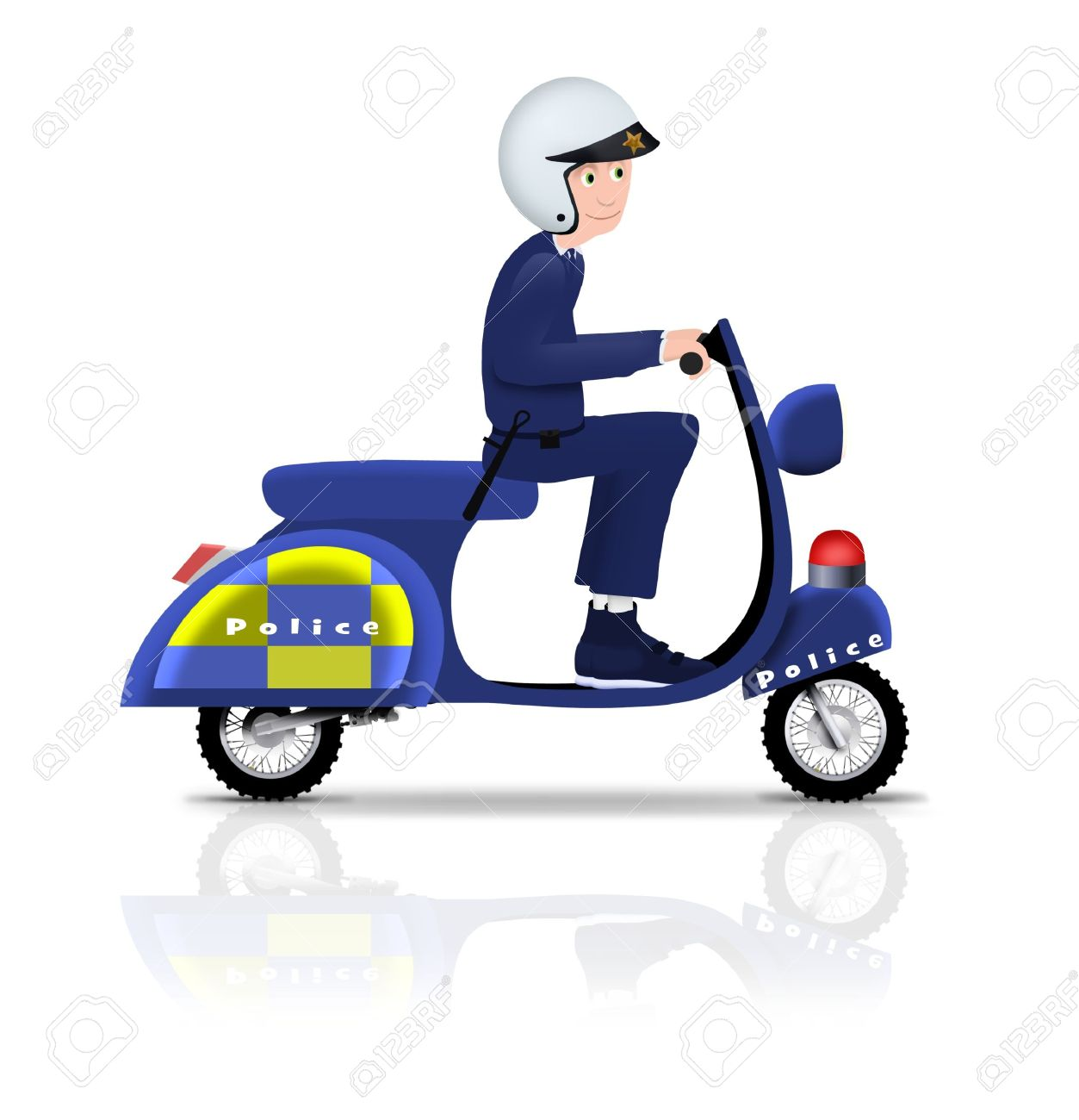 Illustrated policeman riding a scooter Stock Photo - 7937276