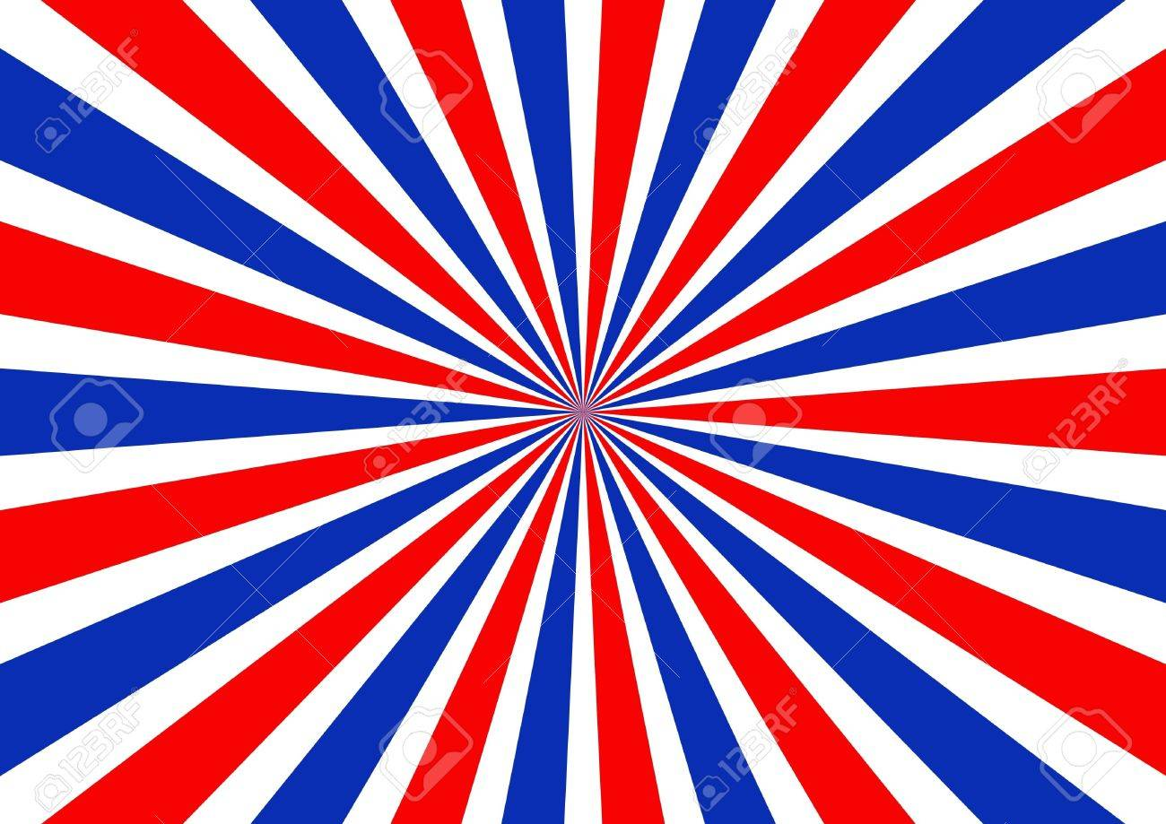 Red White And Blue Sunbeam Background Stock Photo, Picture And