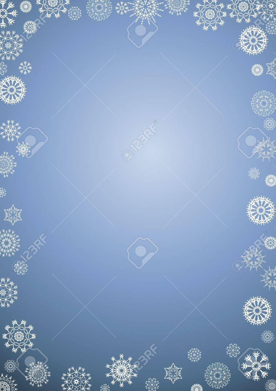 Illustration of a border of white snowflakes on a gradient blue background Stock Illustration - 9373162