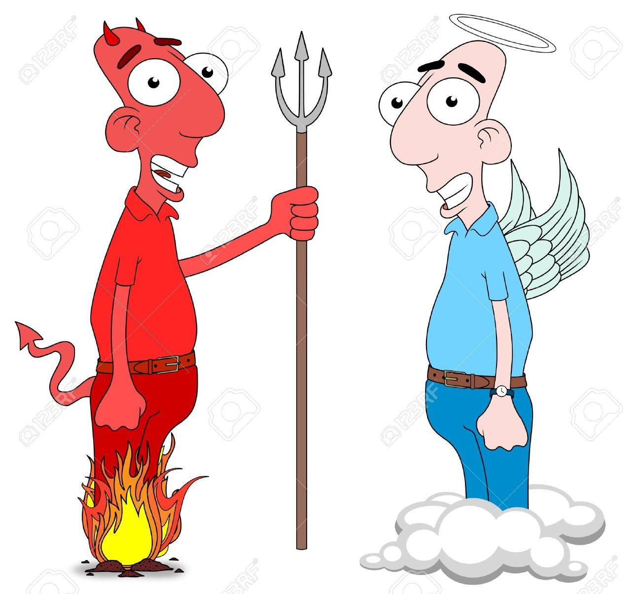 Isolated Cartoon Devil And Angel Characters