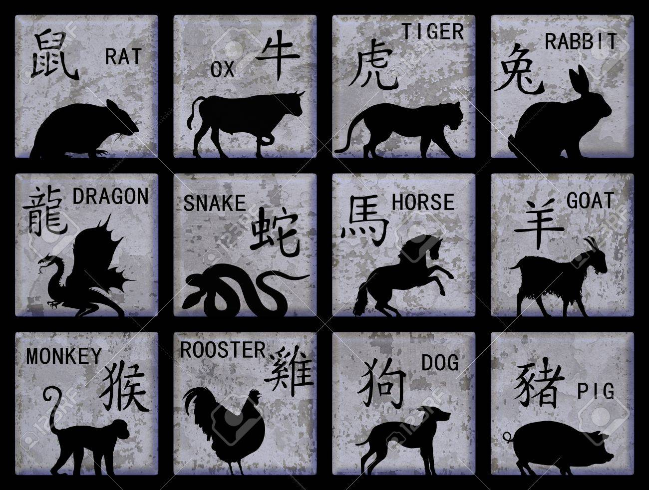 Twelve square buttons with Chinese zodiac animals and text Stock Photo - 9801606