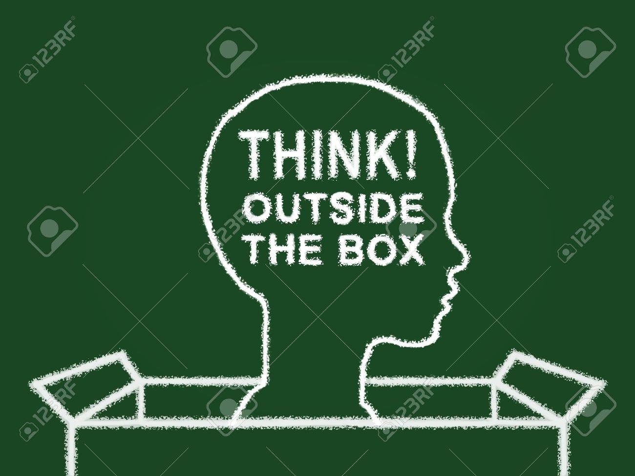 Illustration of a green board with chalk like drawing of a person with head outside of a box and text Stock Photo - 12755730