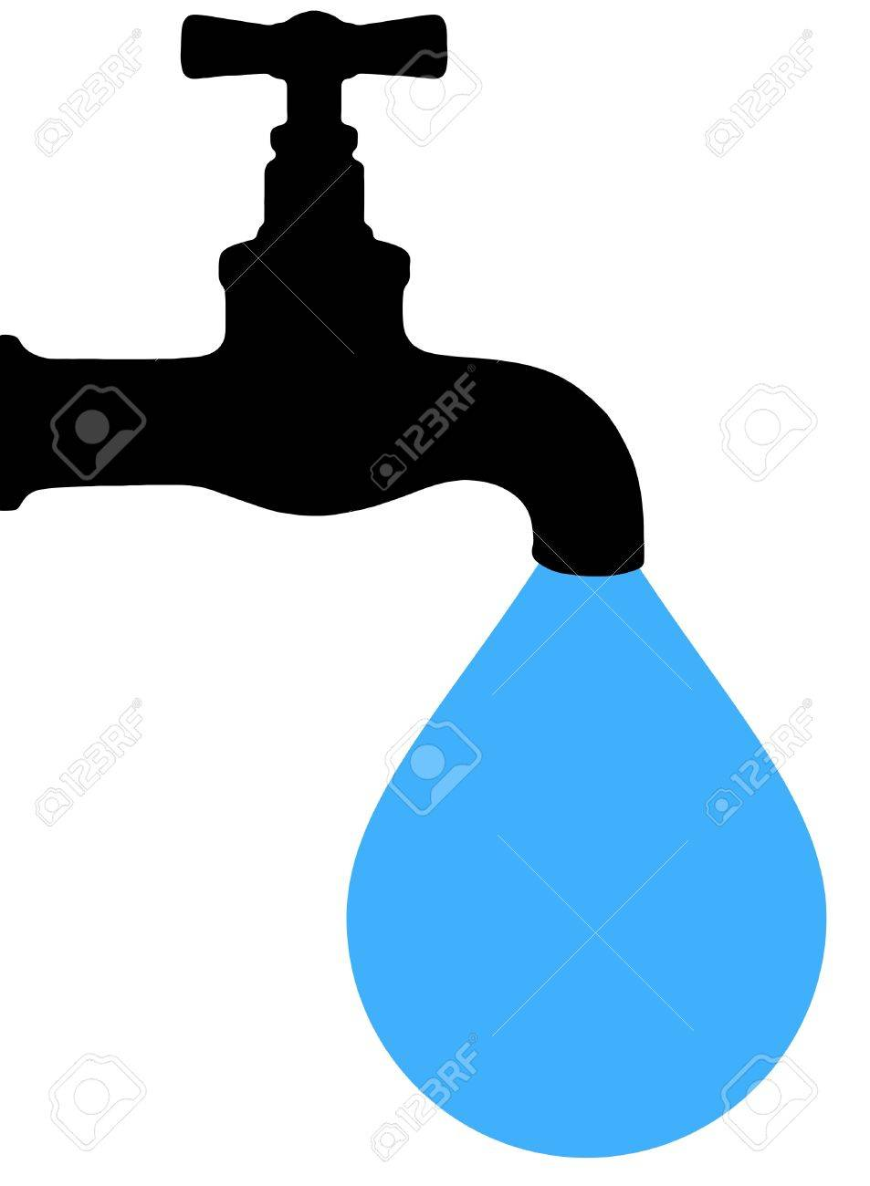 Illustration Of A Tap With A Large Blue Drip Of Water Stock Photo ...