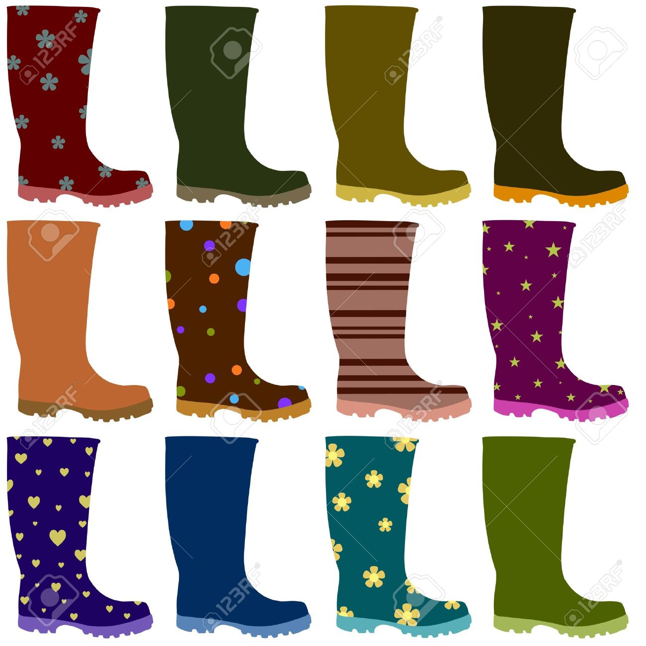 wellington boot: Illustration of 12 Wellington boots Stock Photo