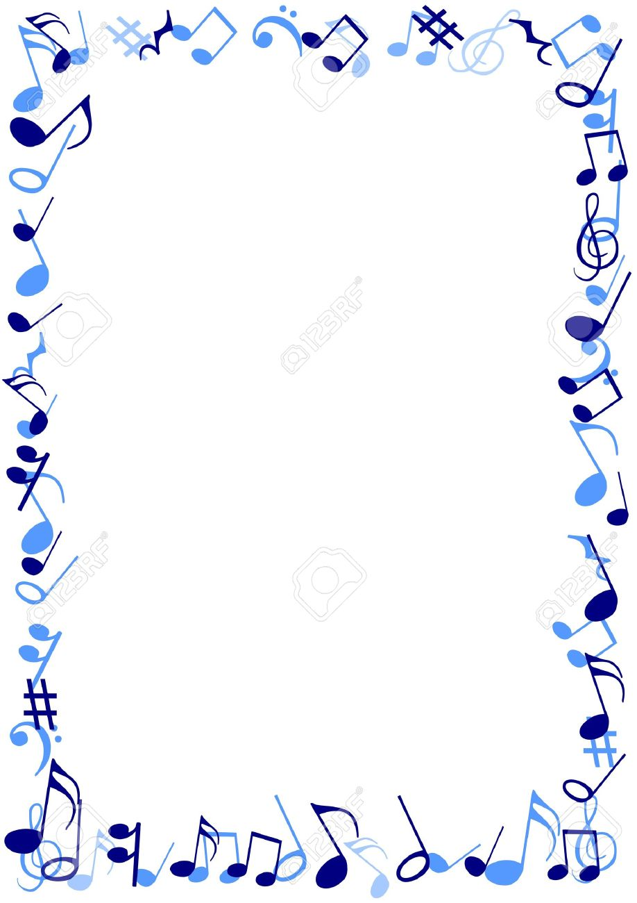 illustration of a frame made of blue musical notes stock photo 17905494 - Music Note Picture Frame