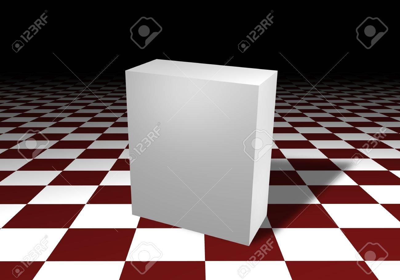 Ongekend Geïllustreerd Van Een Witte Doos Over Een Rood-wit Geblokte Vloer VP-48