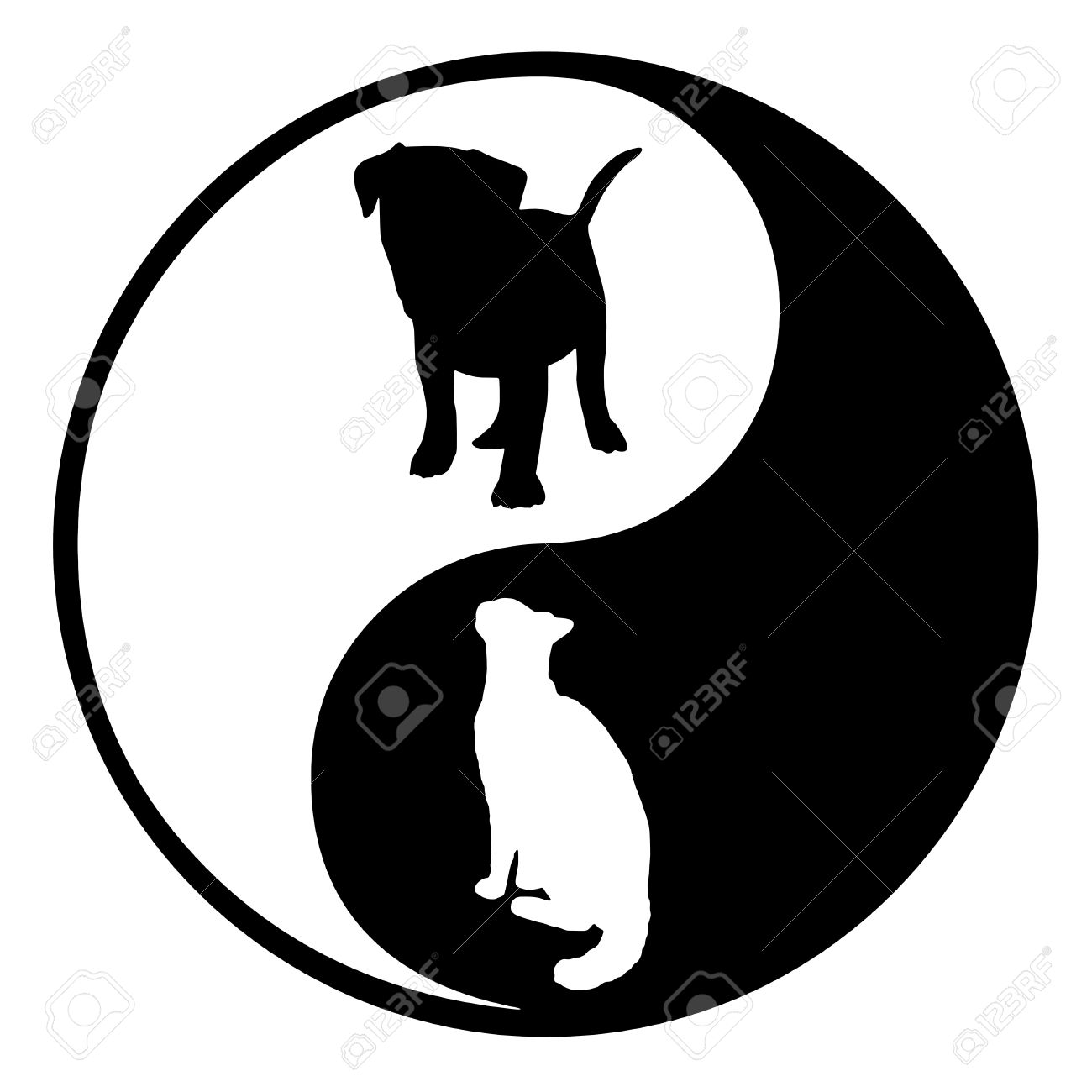 Illustration of a yin yang symbol with a silhouette cat and dog illustration of a yin yang symbol with a silhouette cat and dog stock illustration 18316399 buycottarizona Choice Image