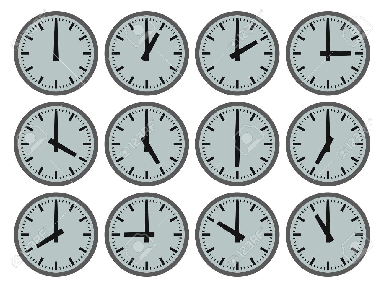 illustration of 12 clocks showing hourly times stock photo