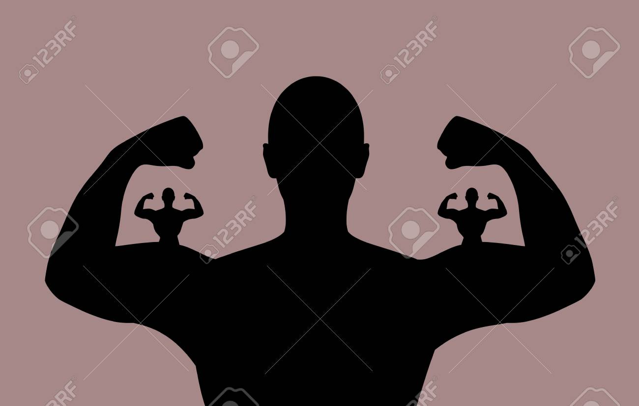 Illustrazione di una persona che mostra i loro muscoli con le