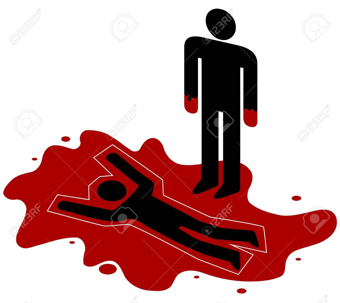 illustration of a red handed person standing over a dead body stock rh 123rf com Cartoon Dead Doctor cartoon dead person clipart