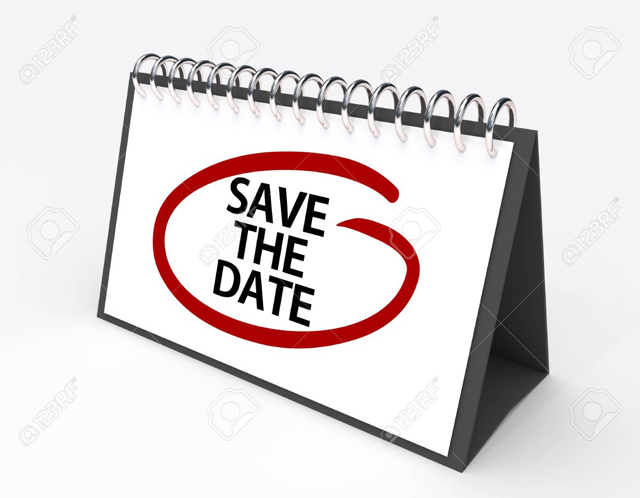 calendar with the words save the date circled in red ink stock photo 37392817