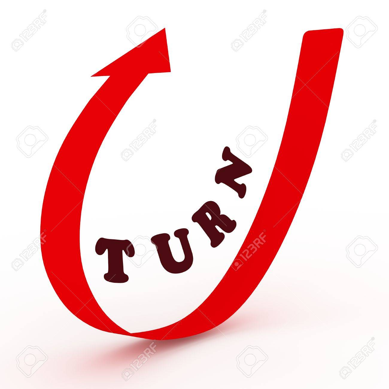 illustration of a curved arrow with the word turn in the middle