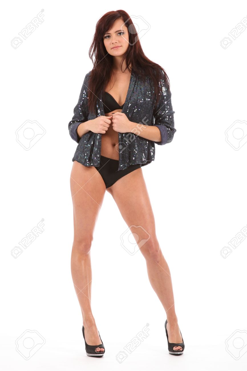 Sexy Pose From Show Girl Dancer In High Heels And A Glitter Jacket