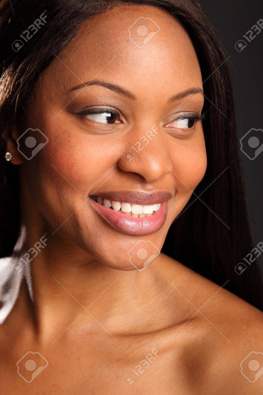 Beautiful black woman portrait happy smile Stock Photo - 9642542