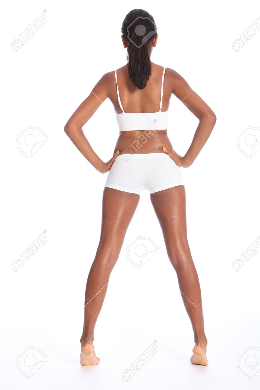 Rear view of a beautiful healthy young african american woman wearing white  sports underwear 237022c90