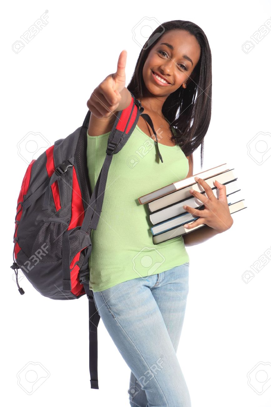 Thumbs up for successful education from pretty young African American teenager student girl with big beautiful smile wearing red backpack and holding school books. Stock Photo - 10389759