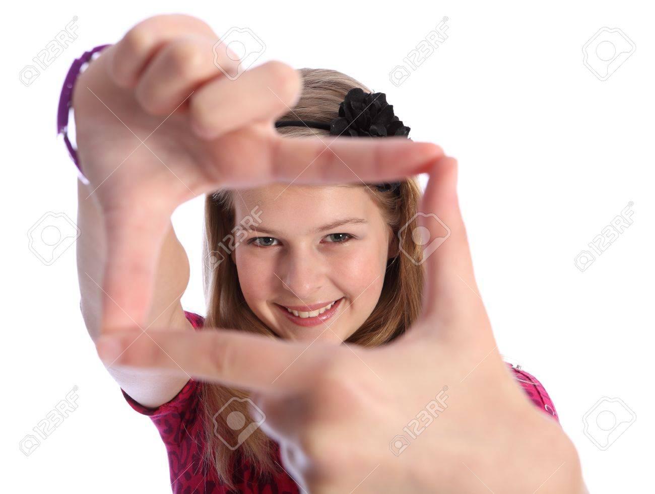 Fun Bilderrahmen Handzeichen Von Hübschen Mädchen Kaukasisch Schule ...