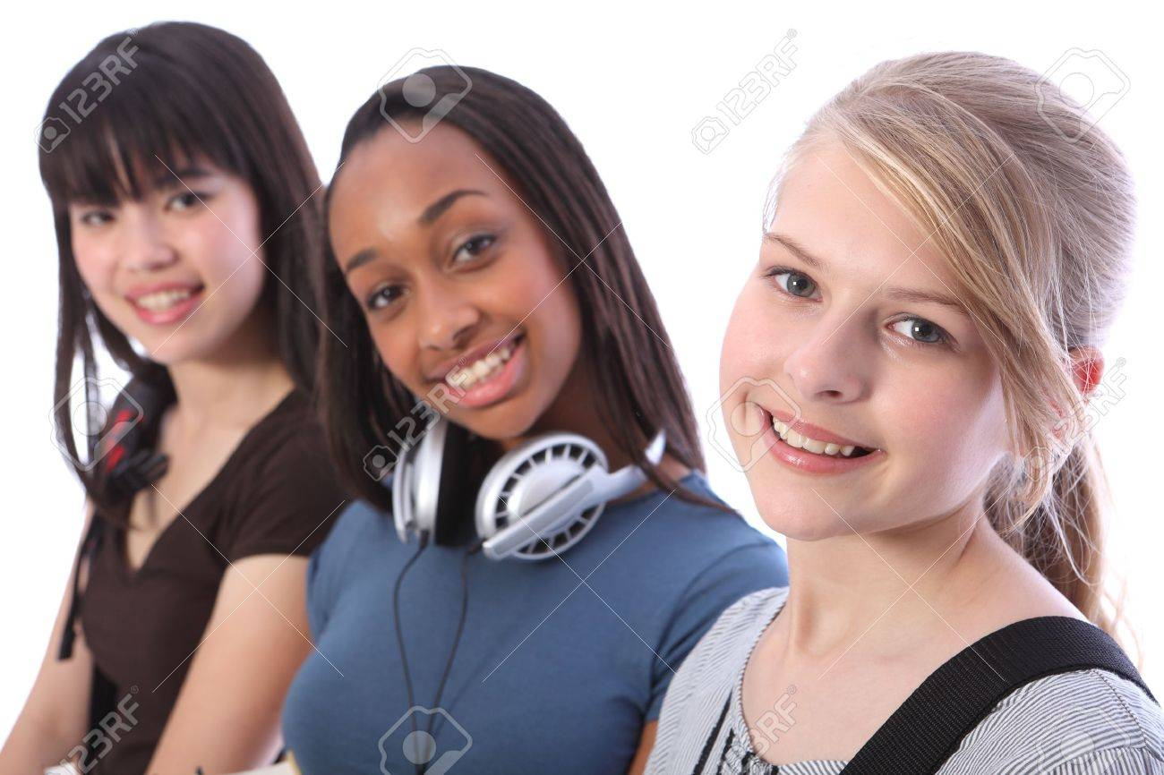 Pretty young blonde caucasian student girl with two other multi ethnic teenage friends, an oriental Japanese and African American mixed race girl, all with happy smiles. Stock Photo - 10782736