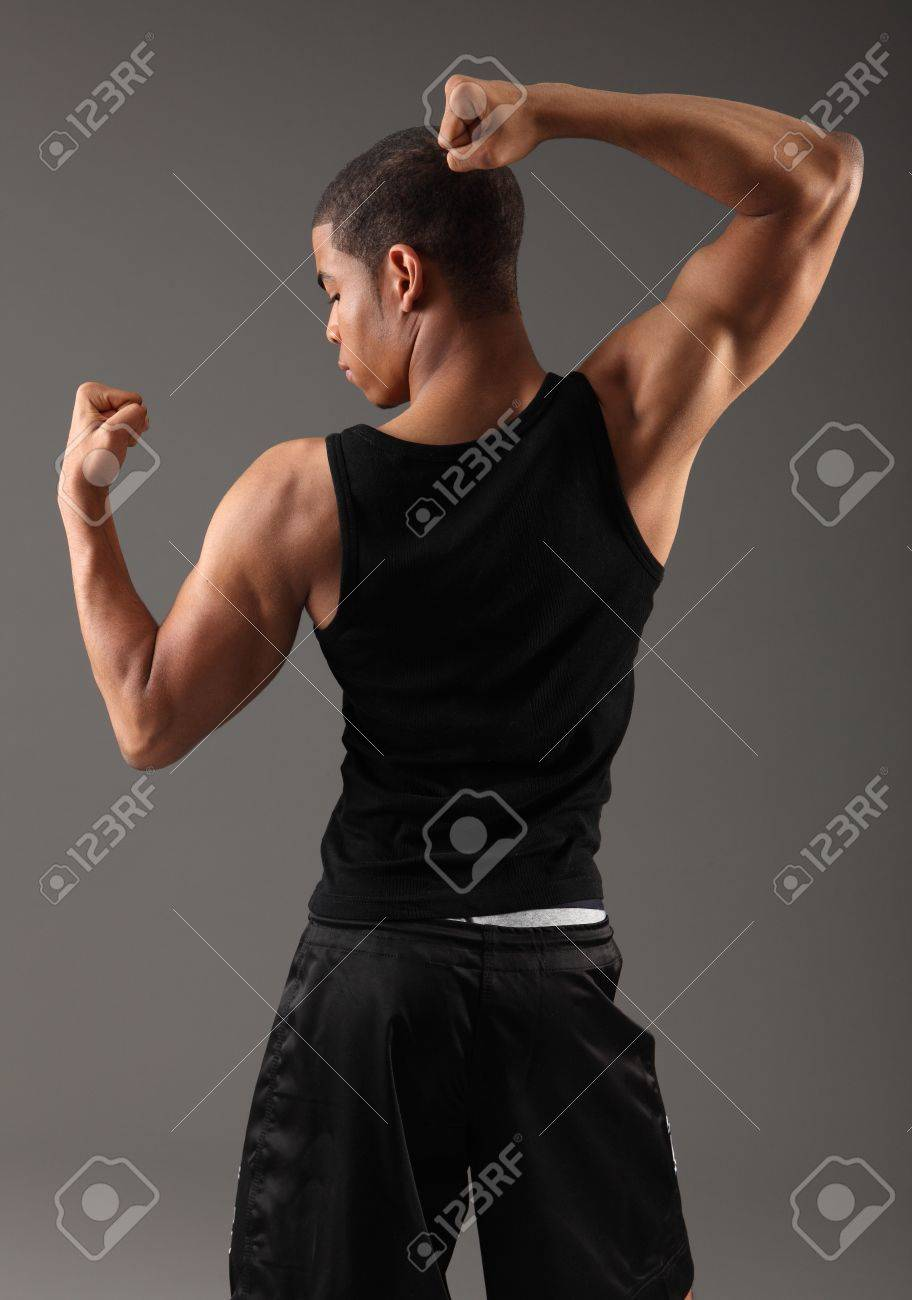 Deltoid Shoulder And Bicep Muscles On Fit Body Of A Handsome Stock