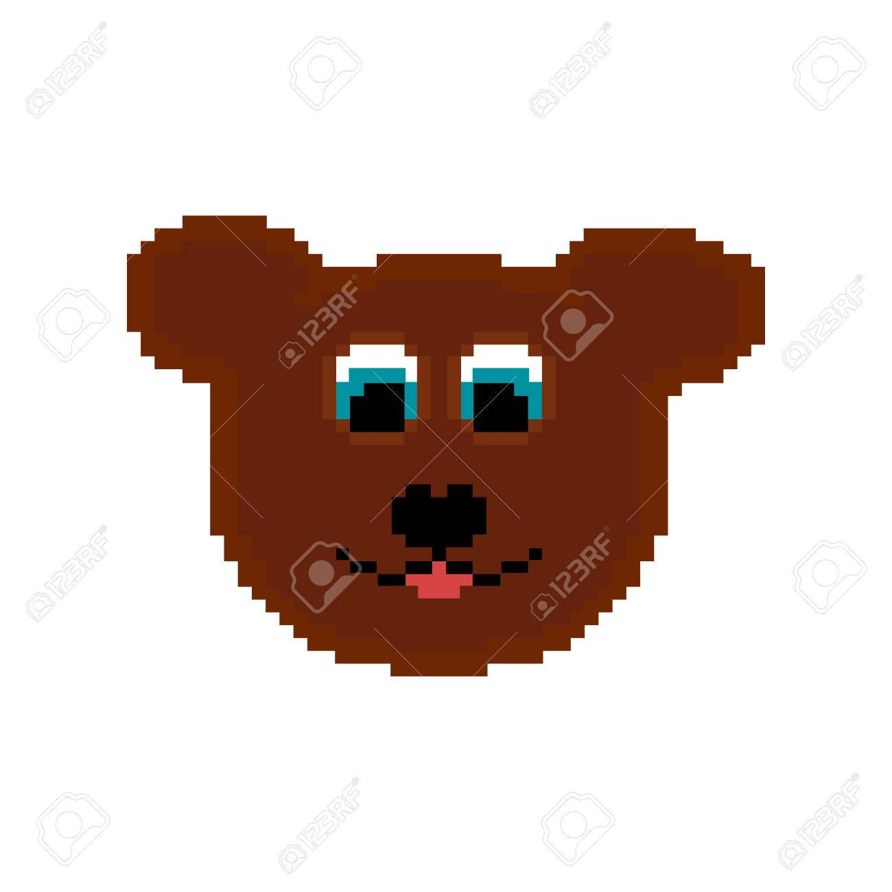pixel bear on the white background royalty free cliparts vectors