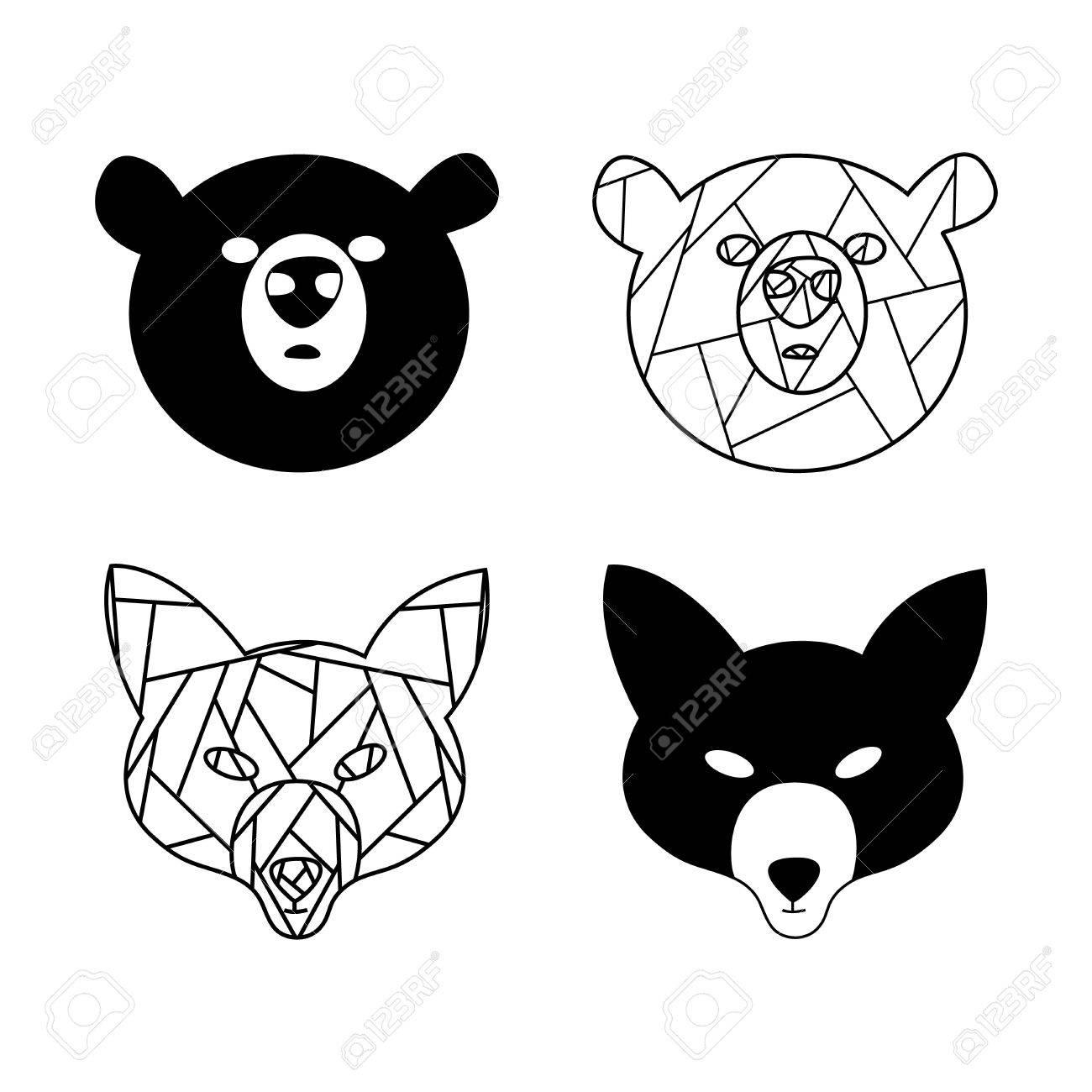 Dessin Au Trait Noir renard stylisé et ours. animaux de la forêt. dessin au trait noir et