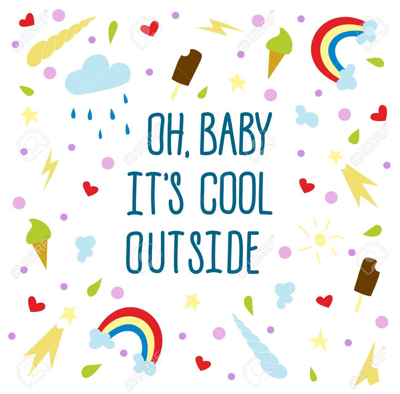 Oh Baby Its Cool Outside Hand Draw Text Cartoon Style