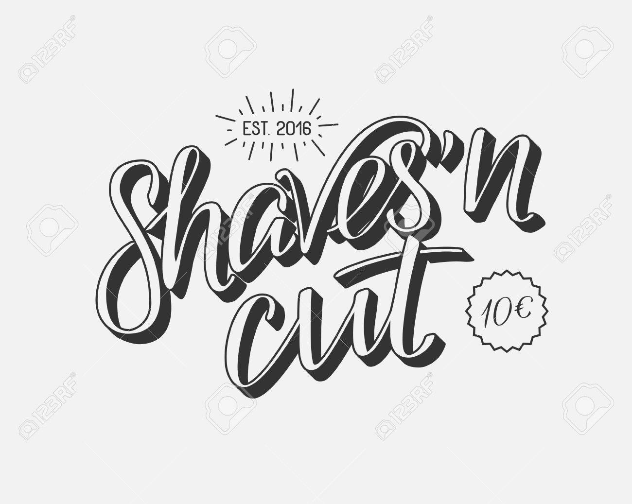 Hand Draw Lettering In Vector Barber Shop Modern Calligraphy Vintage Style Best For