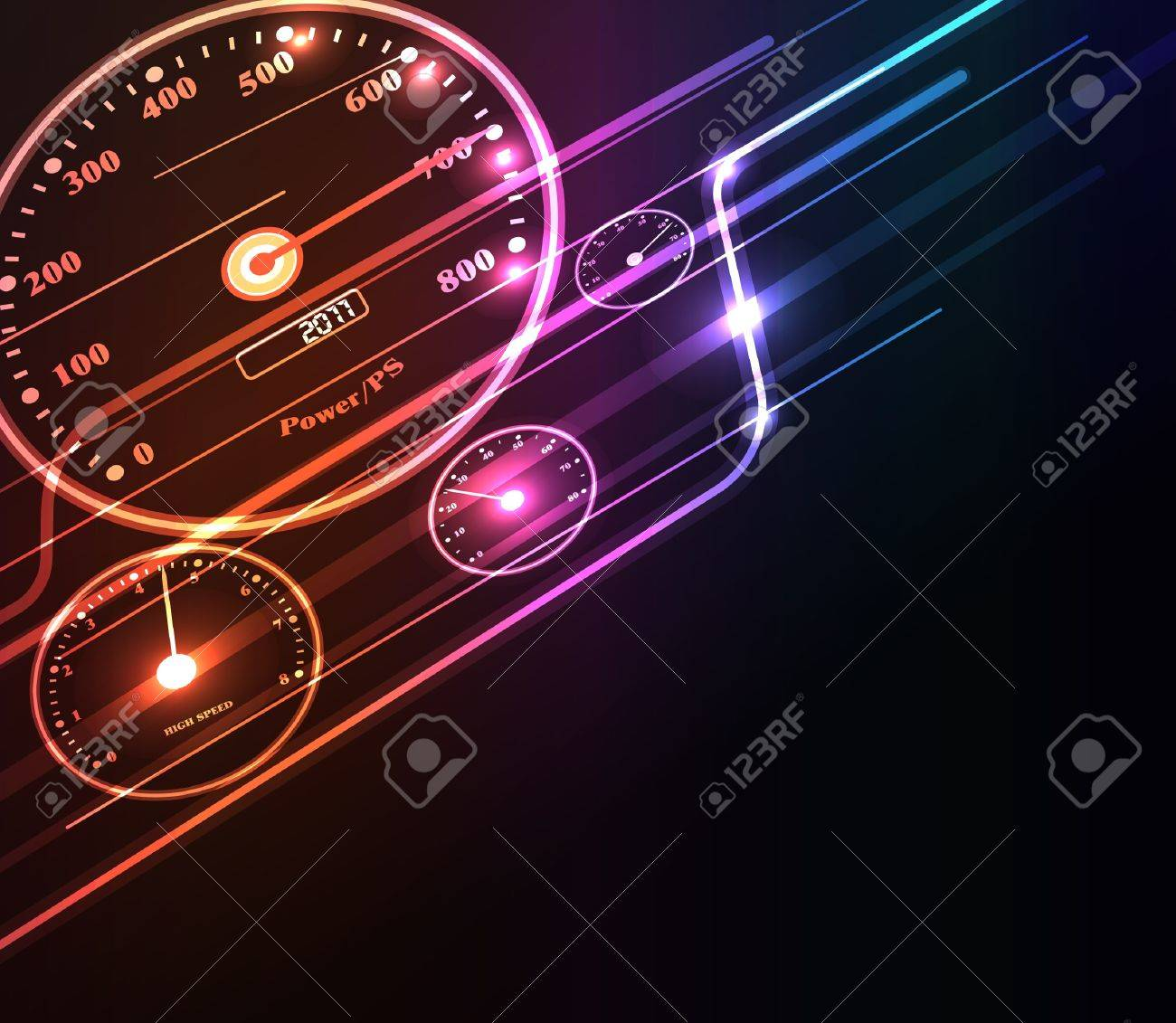 Stylized abstract background with digital symbols and glowing elements Stock Vector - 9640395